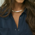 Polished brass hinged collar necklace