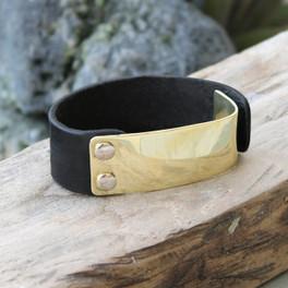 Brass with black leather statement bracelet