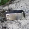 Silver with dark grey leather statement bracelet