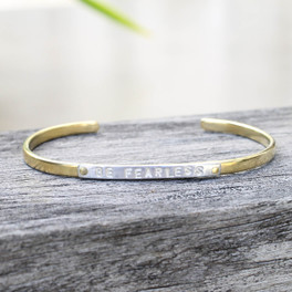"Mixed metals ""be fearless"" adjustable inspirational bracelet"