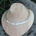 Polished silver collar necklace with white centre stone