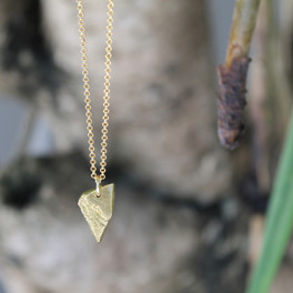 "gold raw edged pendant necklace on 32"" chain"
