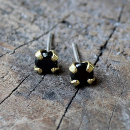 brass studs with black stone and sterling silver earring posts