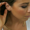 ear cuff in brass with raw diamonds, sold as a pair with stud