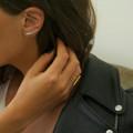 Delicate silver ear cuff earrings