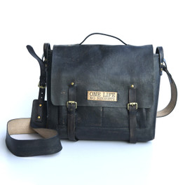 """black genuine leather cross body bag with """"no regrets"""" detailing"""