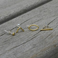 brass mismatched earring set of four with minimalist motifs