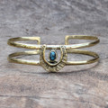 textured adjustable brass cuff with turquoise stone detail
