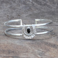 textured adjustable silver plated brass cuff with black onyx stone detail