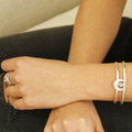 textured adjustable silver plated brass cuff with moonstone detail