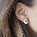silver plated brass textured studs with a bold bezel and moonstone detail