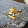 14 carat gold plated sterling silver ring with white crystal and Moroccan inspiration