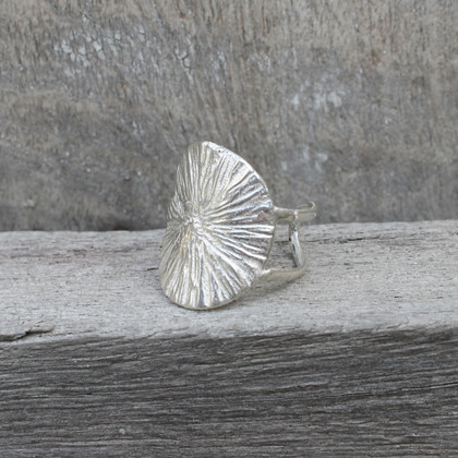 Sterling silver adjustable statement ring with radial texture