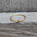14 carat gold plated sterling silver stacking ring with raw diamond detail