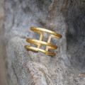 14 carat gold plated sterling silver adjustable statement ring with matte detailing