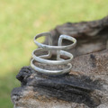 Sterling silver adjustable statement ring with matte detailing