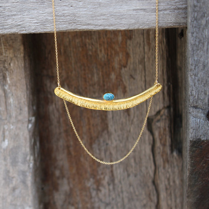 Textured bar with turquoise stone detailing and multi-length gold-filled chain