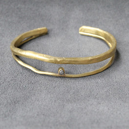 adjustable brass cuff with raw diamond detailing