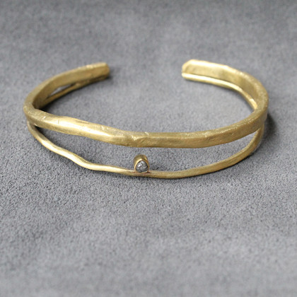 adjustable brass cuff with raw diamond detailing