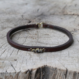 brown leather bracelet with smoky quartz detailing