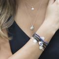 black leather bracelet with smoky quartz detailing