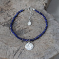 silver 'protect' glyph bracelet with genuine lapis lazuli stones