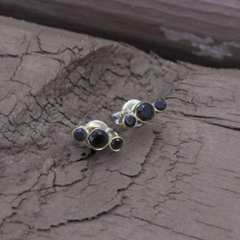 brass stud earrings with smoky quartz detail