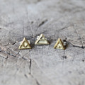'transition', 'explore' and 'protect' glyph brass stud earrings