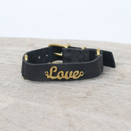 Black leather bracelet with brass LOVE detail
