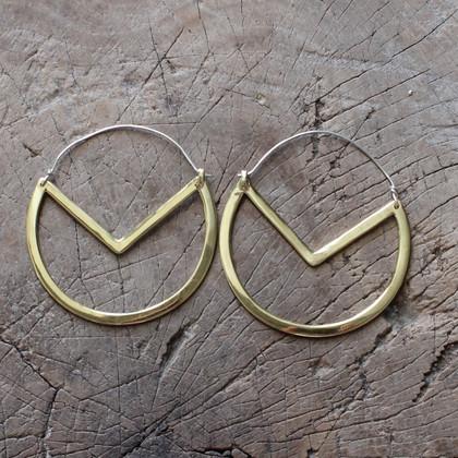Handmade geometric drop brass earrings