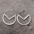 Handmade geometric drop silver earrings