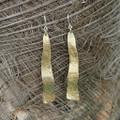 Wavy brass drop earrings with sterling silver posts