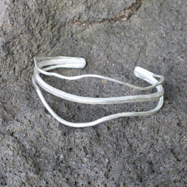 Delicate adjustable cuff bracelet in silver