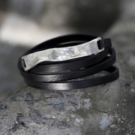 Thin black leather multi wrap bracelet with silver wavy detail