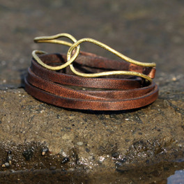 Chocolate brown leather multi wrap bracelet with brass detail