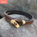 Brass toggle closure on chocolate brown leather multi wrap bracelet