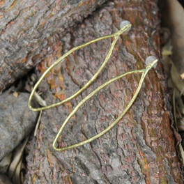 Oblong brass drop earrings with sterling silver posts