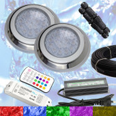 2 x Swimming Pool LED Lights RGB + Controller + Power + Cable - Very Powerful Colour Light