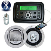 Marine Stereo Combo Kit MP3/USB/FM/AM Radio Bluetooth + Speakers + Antenna