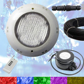 Swimming Pool LED Light RGB - Above Ground / Fiberglass Kit + Power + 10m Cable