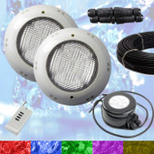 2 x Swimming Pool LED Light RGB - Above Ground / Fiberglass Kit + Power + 10m Cable
