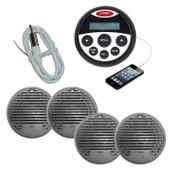 Bluetooth Marine Boat Stereo Kit MP3/USB/FM/AUX/Ipod Radio+ 4 Speakers + Antenna