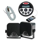 Bluetooth Marine Audio Kit MP3/USB/AM/FM/Ipod Boat Stereo + Speakers + Antenna