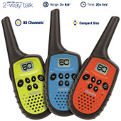 Uniden 0.5 Watt 80 Channel Mini Compact UHF Handheld Radios - Triple Colour Pack - 3+km Range