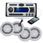 Marine Stereo Flush Mount Kit DVD/MP3/WMA/USB/CD/Radio + 4 x Speakers + Antenna