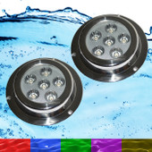 2 x 18W RGB Marine Underwater LED Boat Lights Multi-Colour + Remote NEW