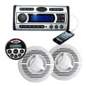 Marine Boat Stereo Flush design DVD/MP3/CD/USB/Radio + Speakers + Ant + Remote