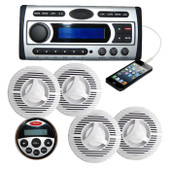 Marine Boat Stereo Combo Quality Flush DVD/MP3/CD/USB/Radio + 4 x Speakers + Ant + Remote