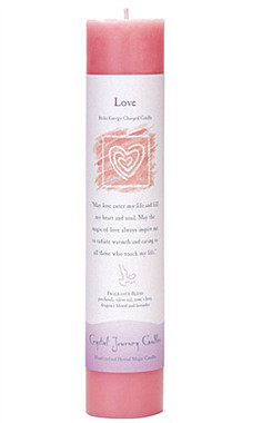 Love - Crystal Journey Herbal Magic Pillar Candle