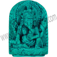 Mini Turquoise Powder Figurine 1 5/8'' Ganesha